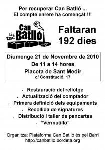 Can Batlló: Activitat del 21/11/10