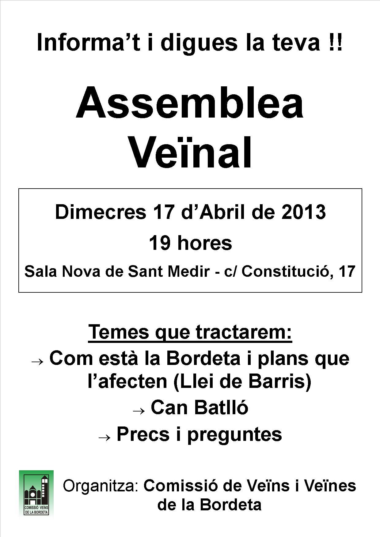 La Comissió de Veïns i Veïnes de la Bordeta convoca assemblea veïnal