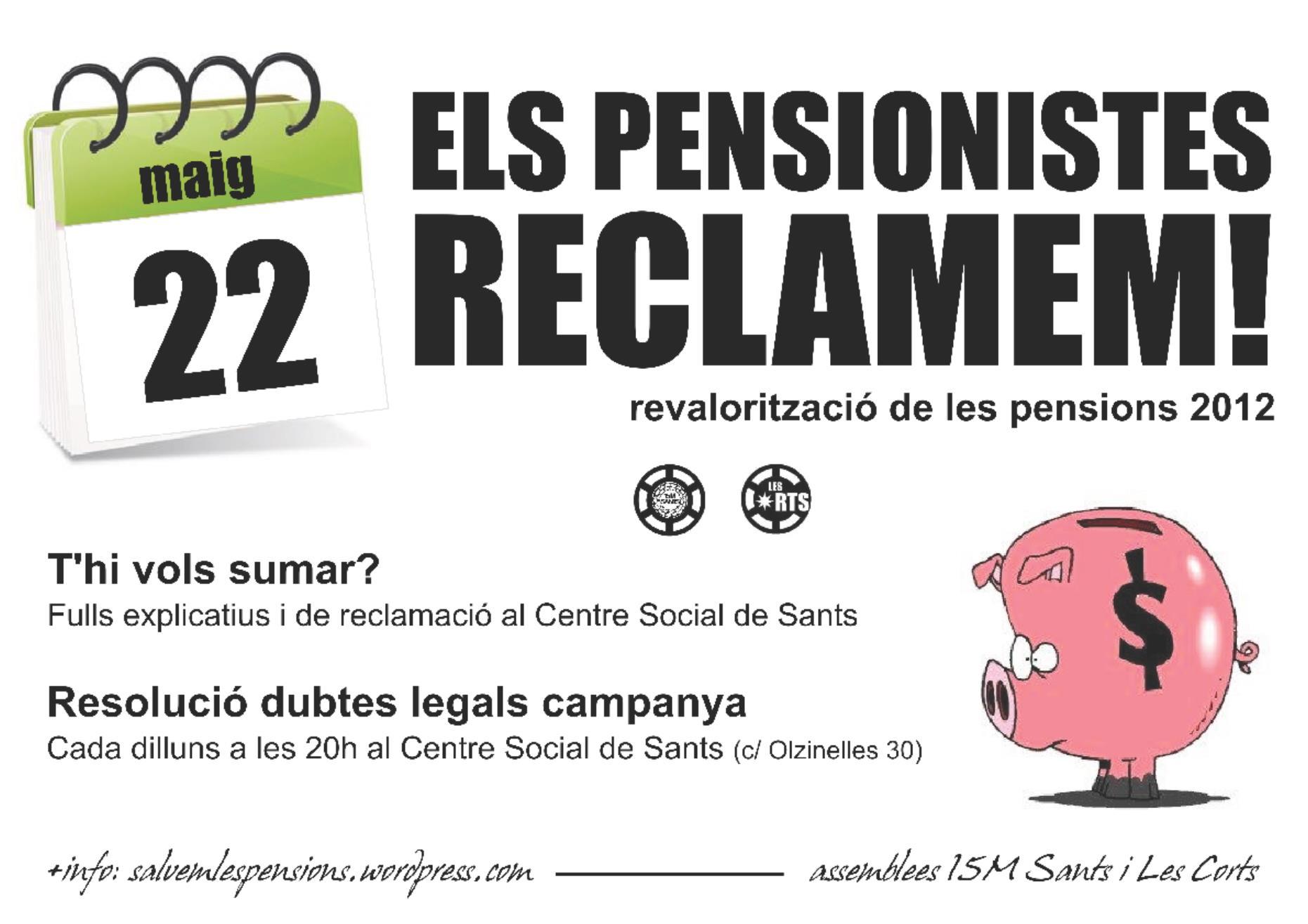 Vine a l'entrega col·lectiva de la sol·licitud de reclamació de les pensions del 2012