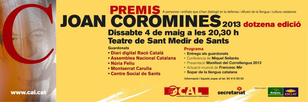 Premis Joan Coromines – 12ª edició