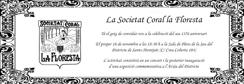 La Societat Coral La Floresta celebra el 135è aniversari