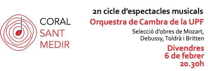Divendres 6 de febrer: Concert de l'Orquestra de Cambra de la UPF a la Bordeta