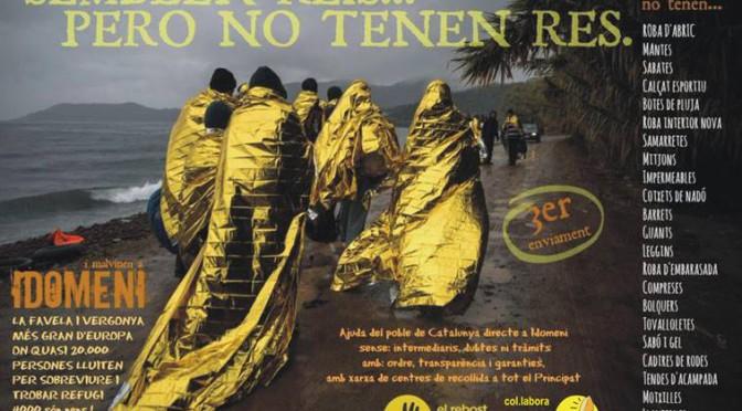 Recollida solidària per a les persones refugiades al camp d'Idomeni (fins 1 Abril)