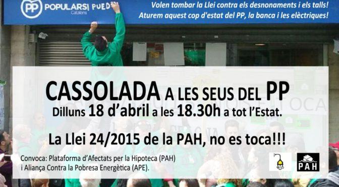 Defensem la Llei d'emergència habitacional i contra la pobresa energètica (18 Abril)