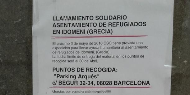 Recollida solidària per a les persones refugiades al camp d'Idomeni (fins 3 Maig)