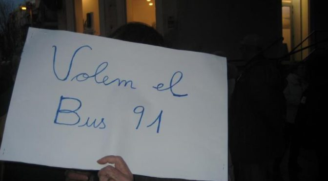 La Bordeta talla el trànsit per salvar el Bus 91