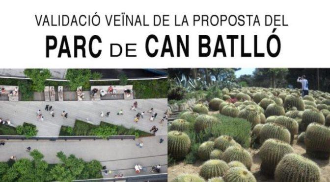 Assemblea veïnal de validació de la proposta del Parc de Can Batlló – 17 desembre 2018