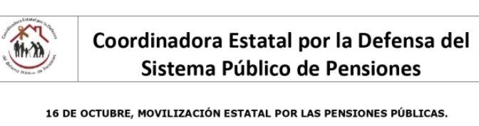 Manifest de la Coordinadora Estatal per la Defensa del Sistema Públic de Pensions – Octubre 2019